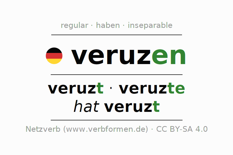 Entire conjugation of the German verb veruzen. All tenses and modes are clearly represented in a table.