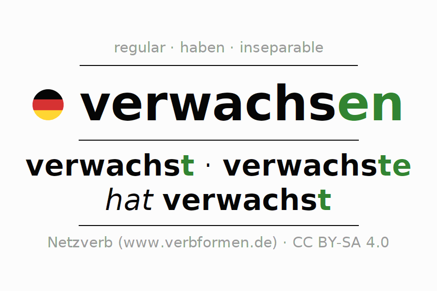 Entire conjugation of the German verb verwachsen (regelm) (hat). All tenses are clearly represented in a table.