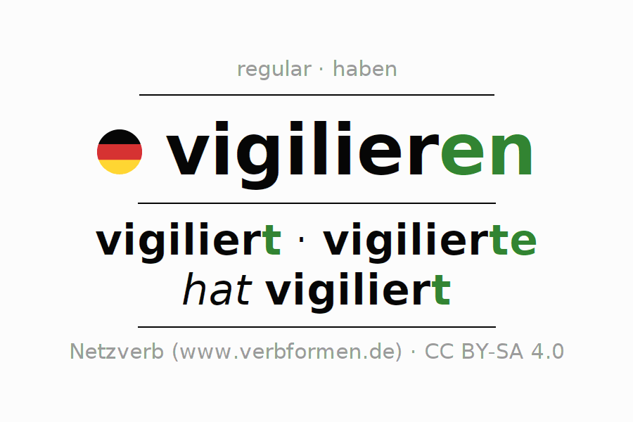 Entire conjugation of the German verb vigilieren. All tenses and modes are clearly represented in a table.