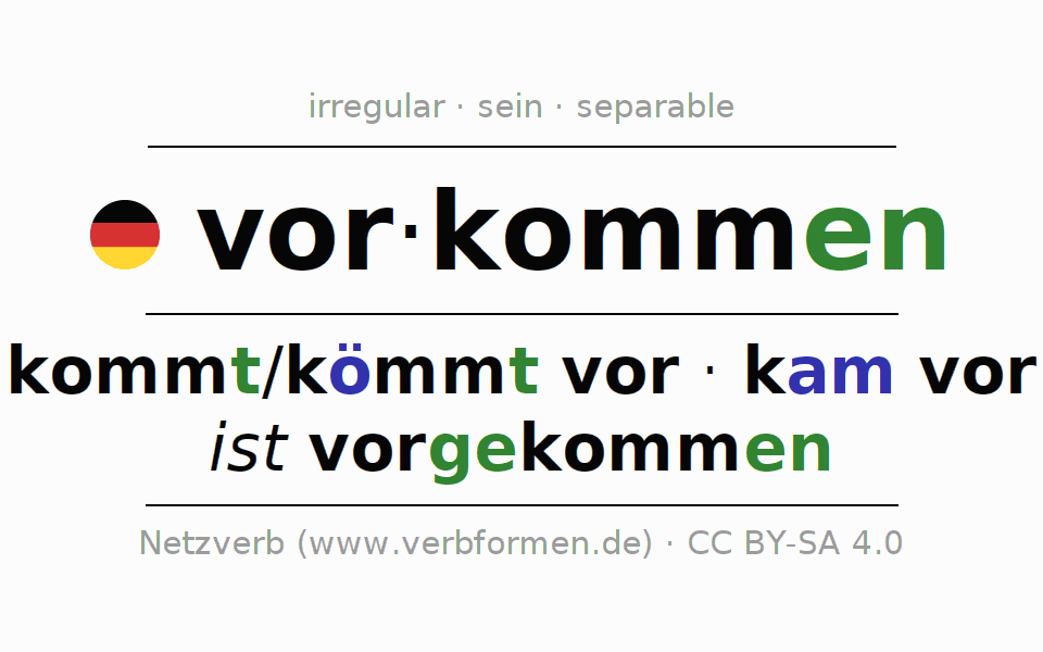Entire conjugation of the German verb vorkommen. All tenses are clearly represented in a table.