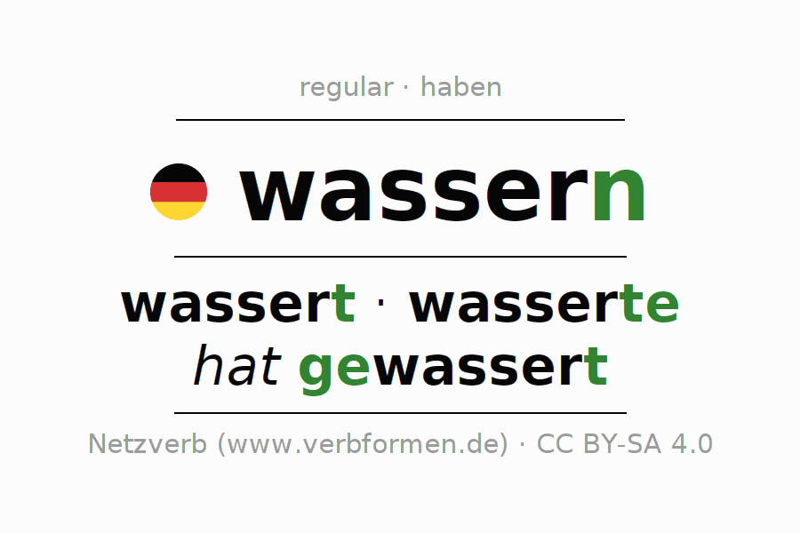 Conjugation of German verb wassern (hat)
