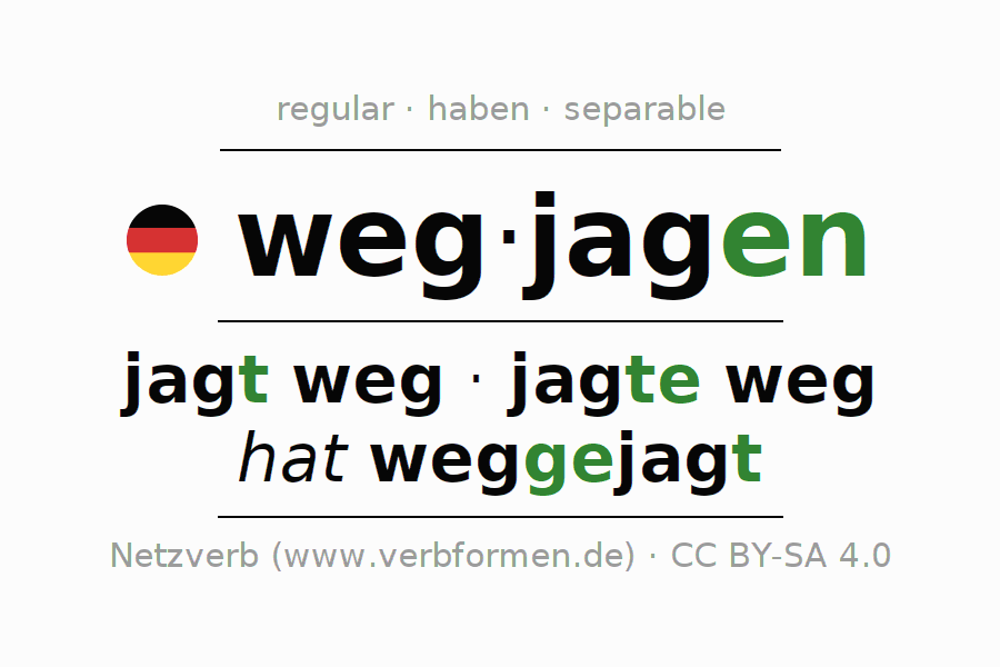 Entire conjugation of the German verb wegjagen. All tenses are clearly represented in a table.