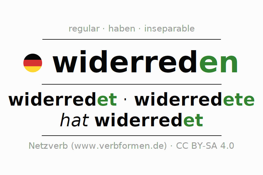 Entire conjugation of the German verb widerreden. All tenses and modes are clearly represented in a table.