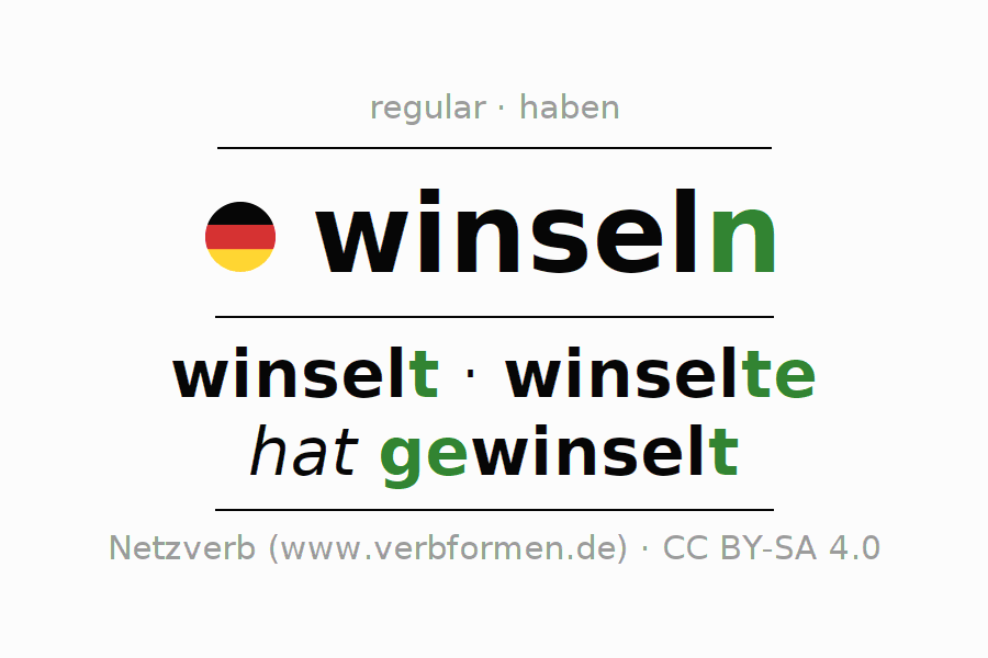 Entire conjugation of the German verb winseln. All tenses are clearly represented in a table.