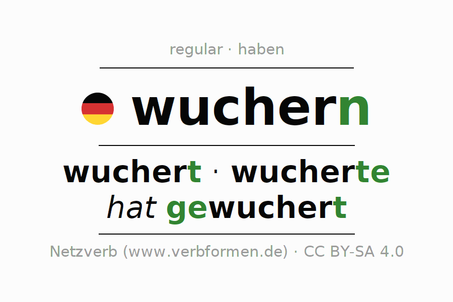 Entire conjugation of the German verb wuchern (hat). All tenses are clearly represented in a table.