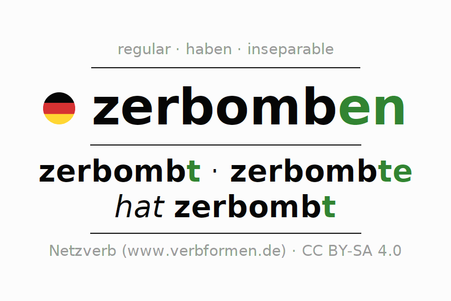 Conjugation of German verb zerbomben