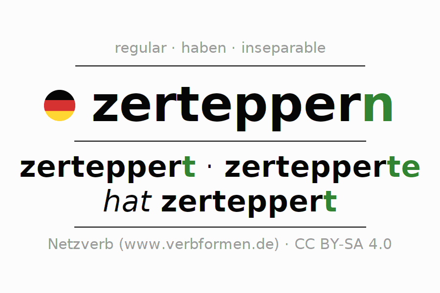 Conjugation of German verb zerteppern