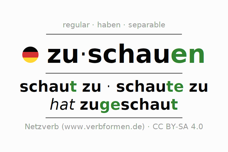 Conjugation of German verb zuschauen