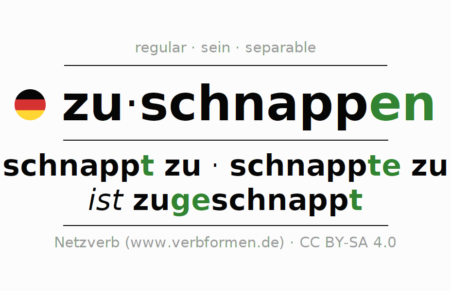 Conjugation of German verb zuschnappen (ist)