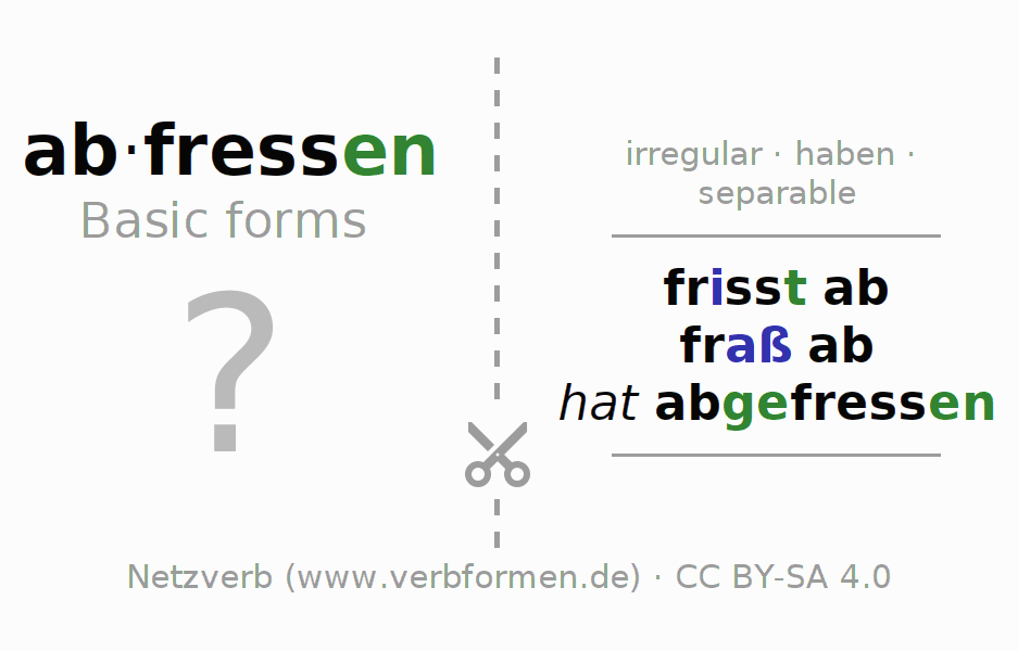 Flash cards for the conjugation of the verb abfressen