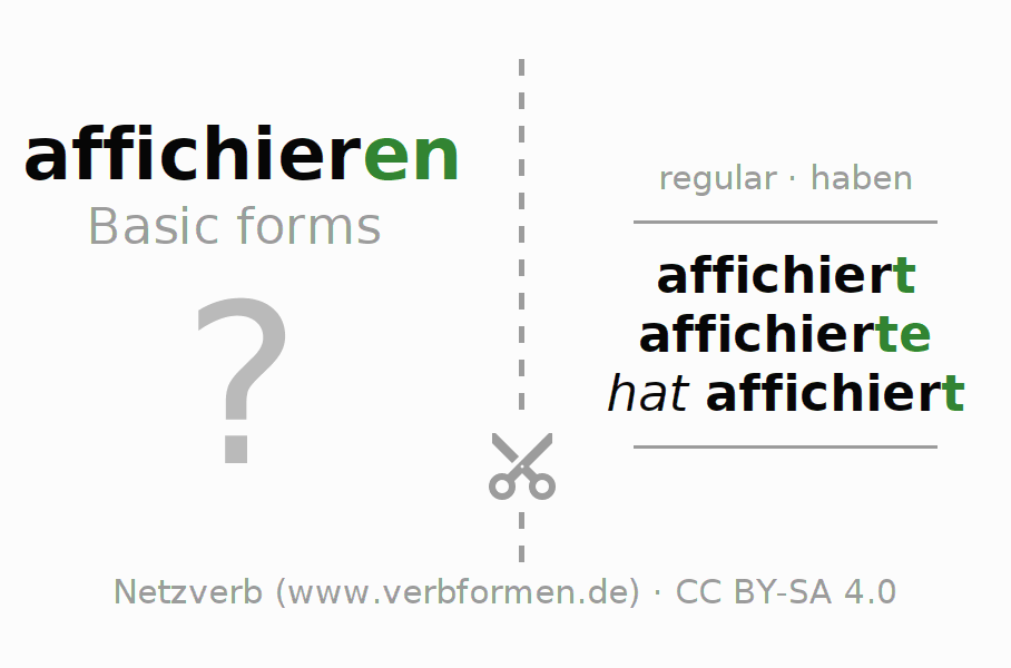 Flash cards for the conjugation of the verb affichieren
