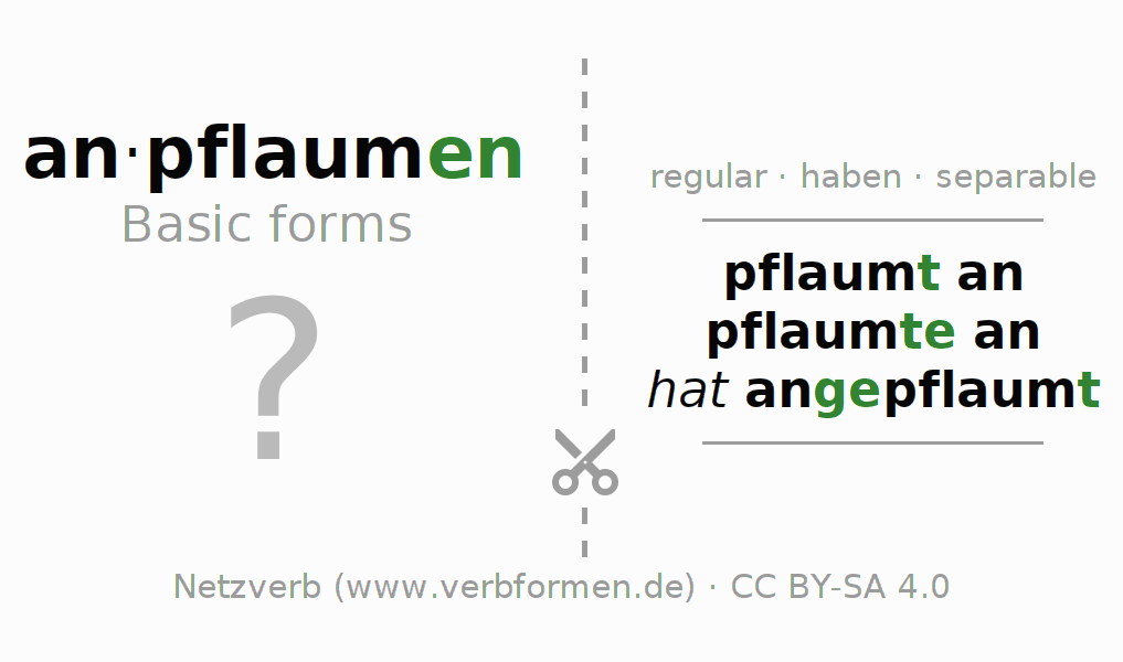 Flash cards for the conjugation of the verb anpflaumen
