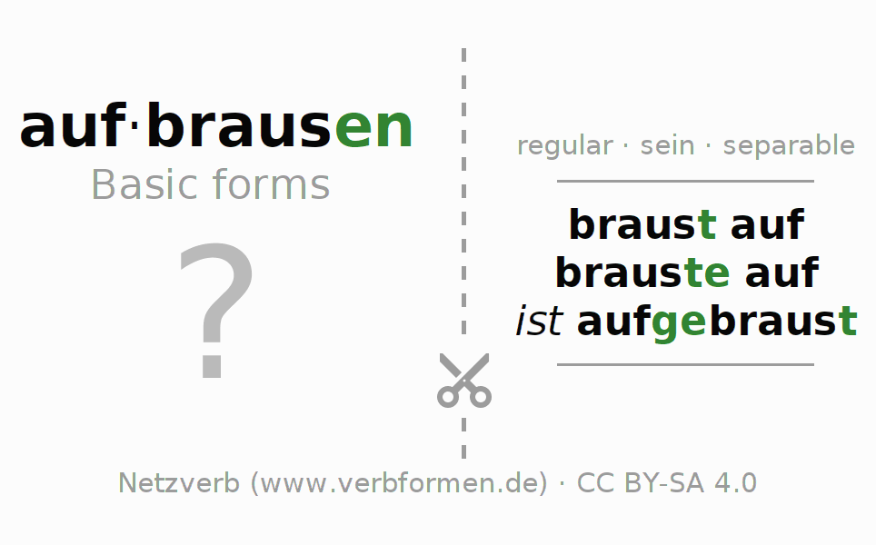 Flash cards for the conjugation of the verb aufbrausen