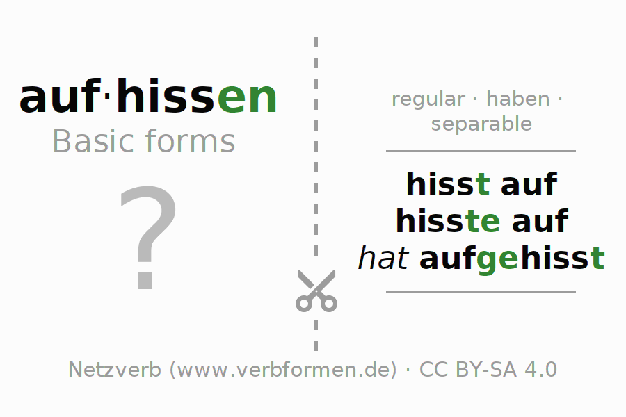 Flash cards for the conjugation of the verb aufhissen