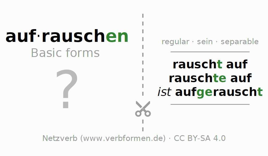 Flash cards for the conjugation of the verb aufrauschen (ist)