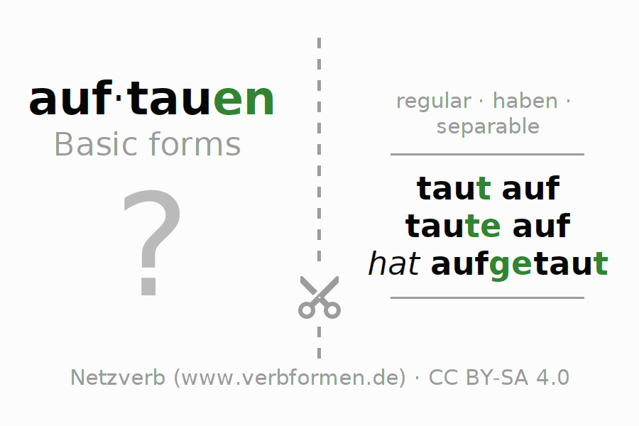 Flash cards for the conjugation of the verb auftauen (hat)