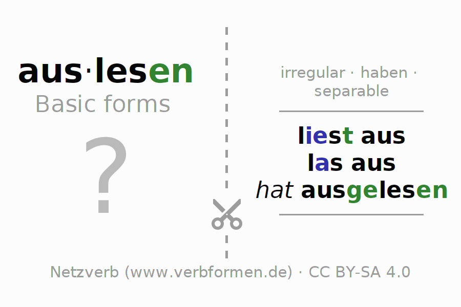 Flash cards for the conjugation of the verb auslesen