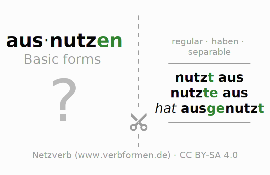 Flash cards for the conjugation of the verb ausnutzen