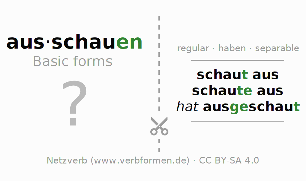 Flash cards for the conjugation of the verb ausschauen