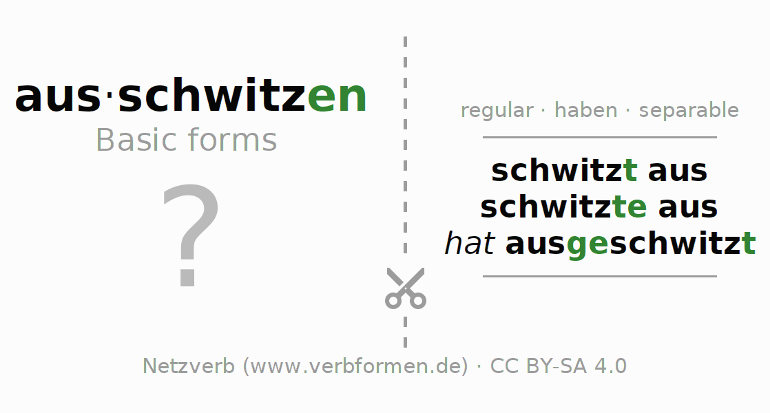 Flash cards for the conjugation of the verb ausschwitzen (hat)