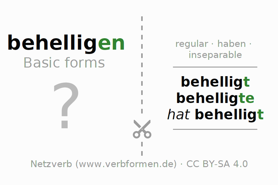 Flash cards for the conjugation of the verb behelligen