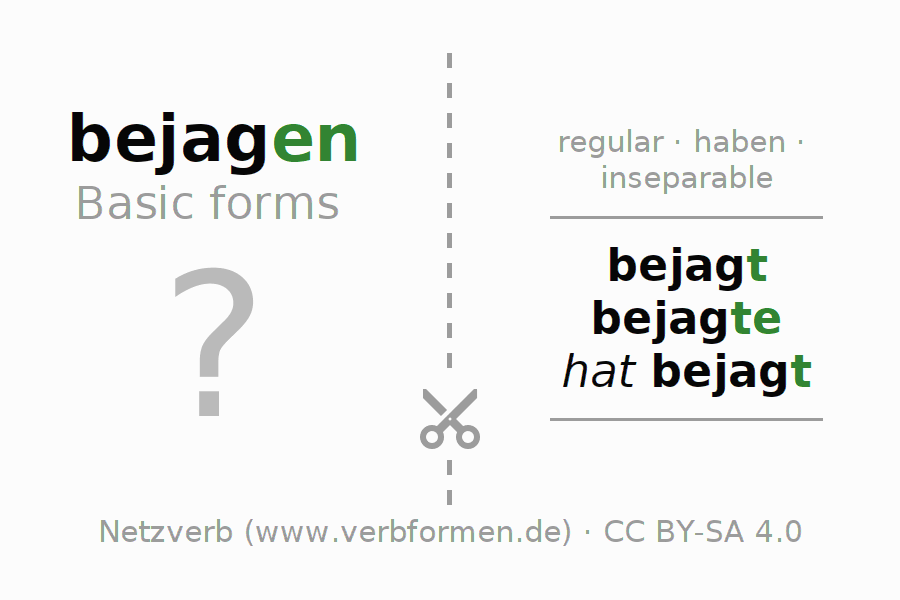 Flash cards for the conjugation of the verb bejagen