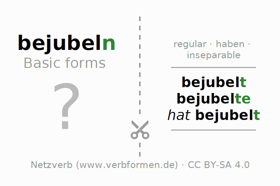 Flash cards for the conjugation of the verb bejubeln
