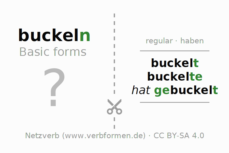Flash cards for the conjugation of the verb buckeln