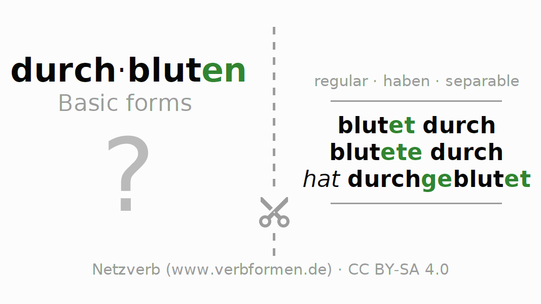 Flash cards for the conjugation of the verb durch-bluten (hat)