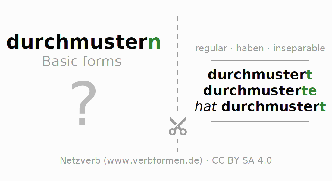 Flash cards for the conjugation of the verb durchmustern
