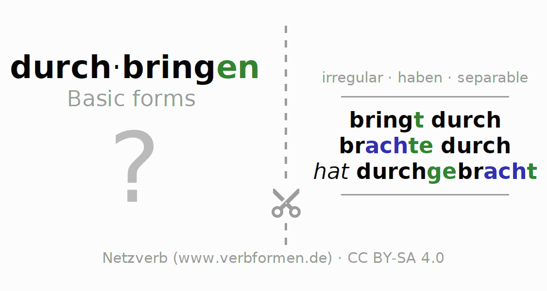 Flash cards for the conjugation of the verb durchbringen