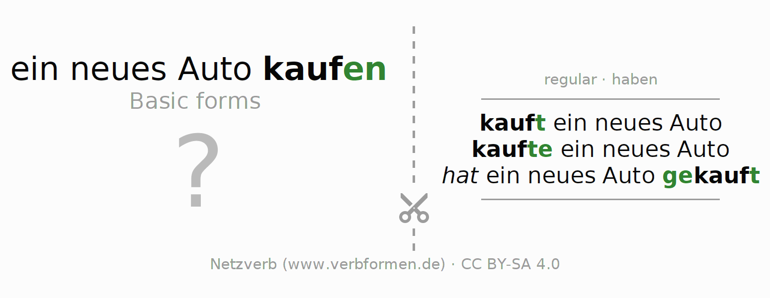 Flash cards for the conjugation of the verb ein neues Auto kaufen