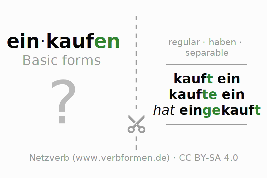 Flash cards for the conjugation of the verb einkaufen