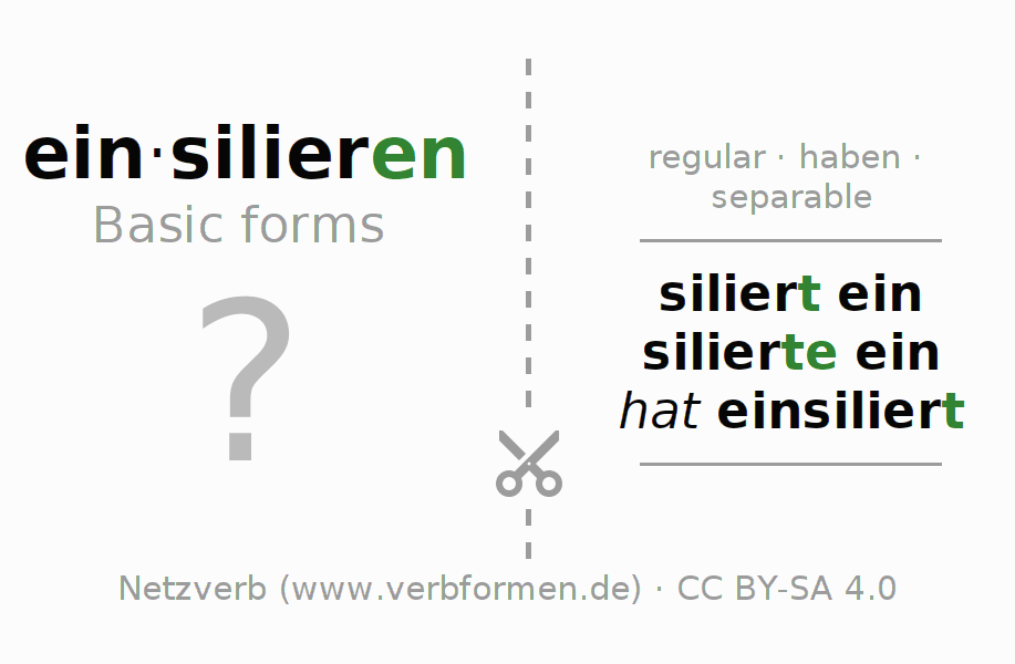 Flash cards for the conjugation of the verb einsilieren