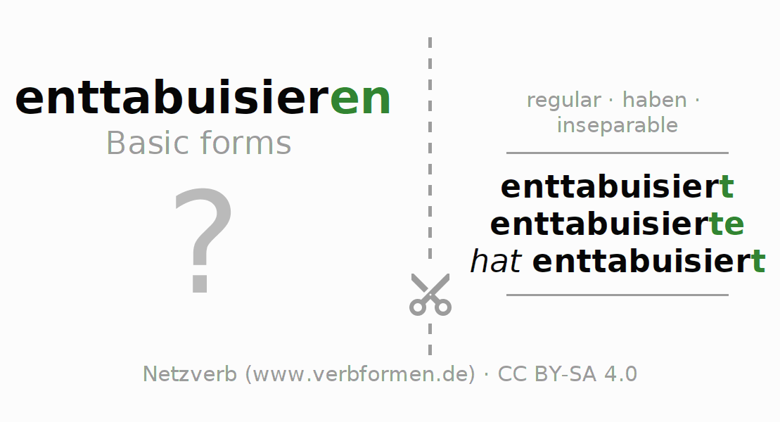 Flash cards for the conjugation of the verb enttabuisieren