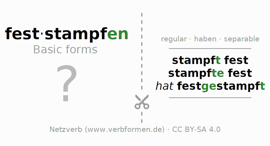 Flash cards for the conjugation of the verb feststampfen