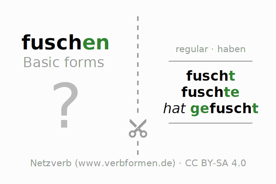 Flash cards for the conjugation of the verb fuschen
