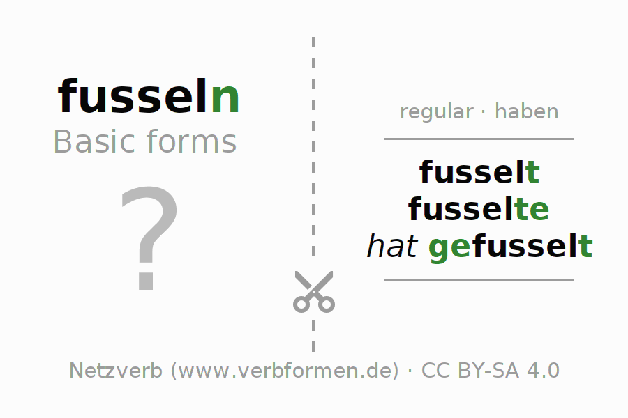Flash cards for the conjugation of the verb fusseln