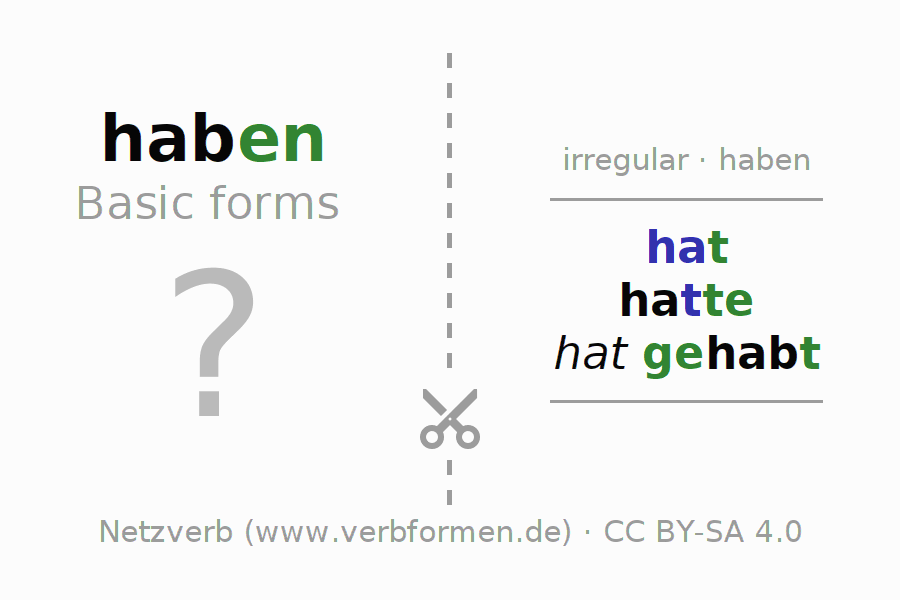 Flash cards for the conjugation of the verb haben