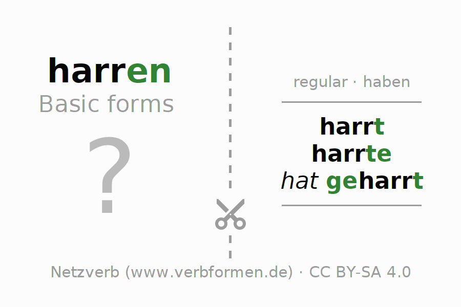 Flash cards for the conjugation of the verb harren
