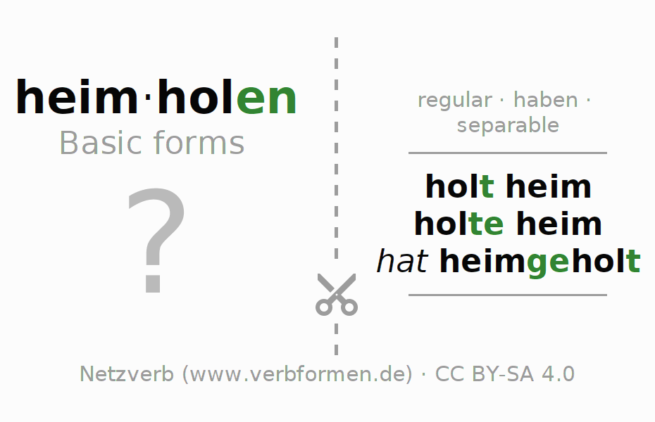 Flash cards for the conjugation of the verb heimholen