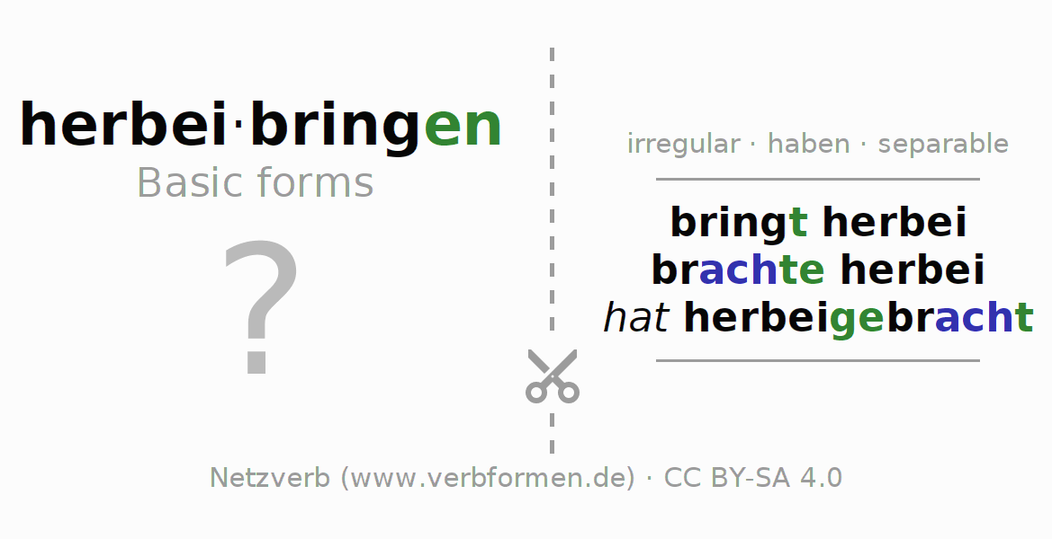 Flash cards for the conjugation of the verb herbeibringen