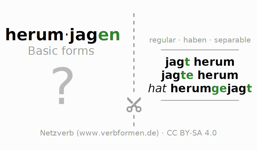 Flash cards for the conjugation of the verb herumjagen (hat)