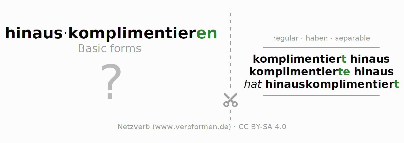 Flash cards for the conjugation of the verb hinauskomplimentieren