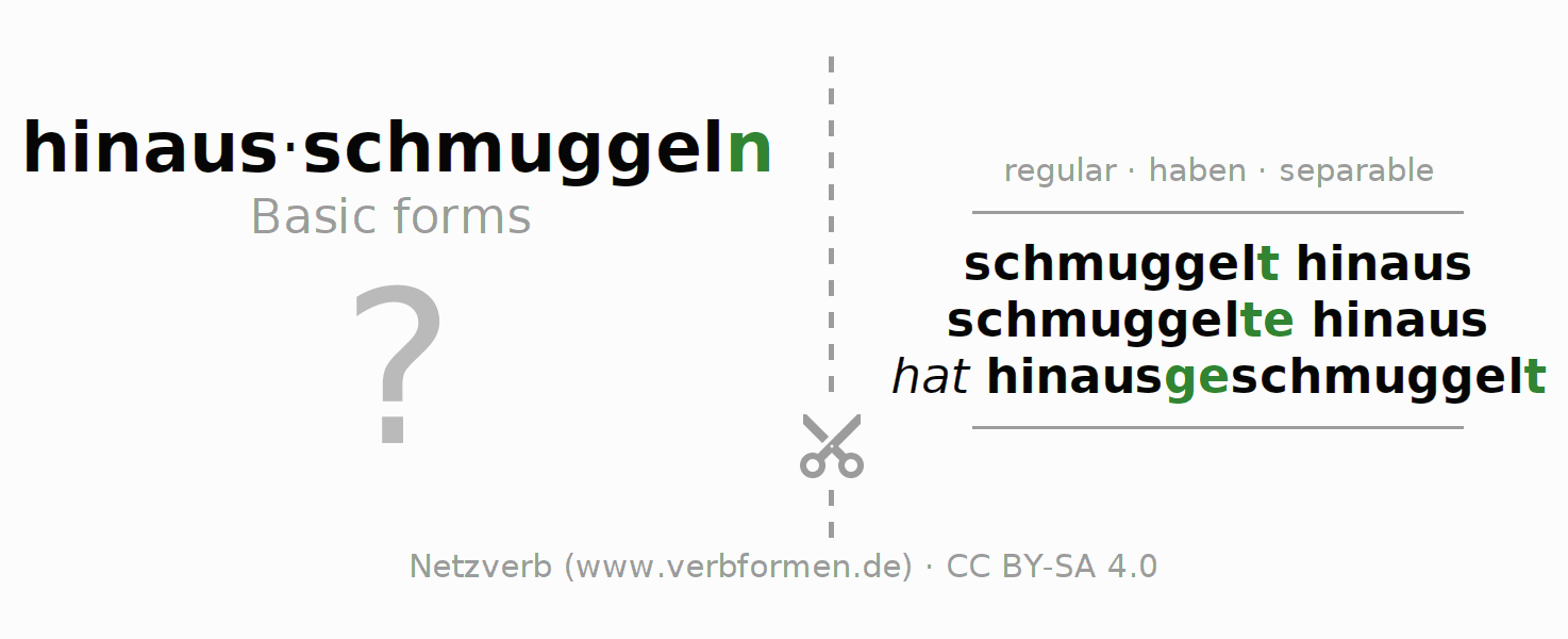 Flash cards for the conjugation of the verb hinausschmuggeln