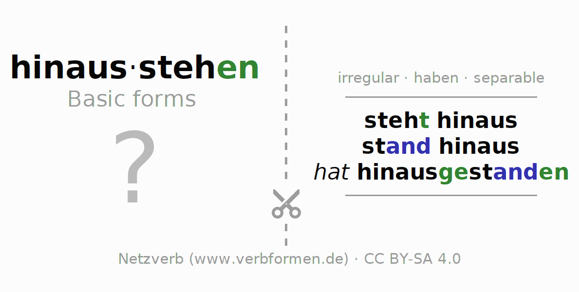 Flash cards for the conjugation of the verb hinausstehen (hat)