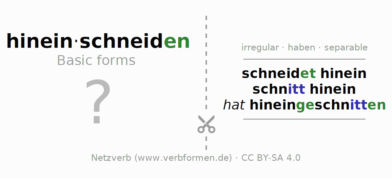 Flash cards for the conjugation of the verb hineinschneiden