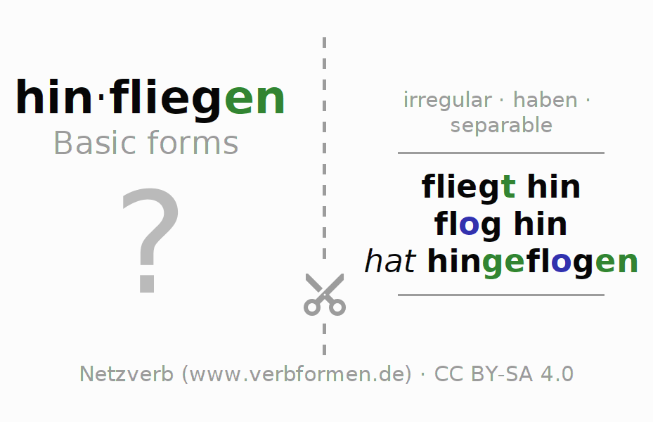 Flash cards for the conjugation of the verb hinfliegen (hat)