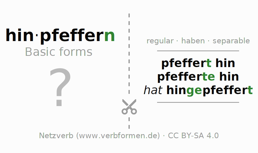 Flash cards for the conjugation of the verb hinpfeffern