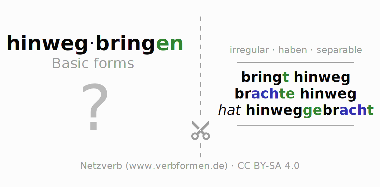 Flash cards for the conjugation of the verb hinwegbringen